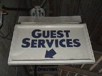 This Overhead Sign Marked The Guest Services