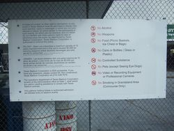 TEXAS STADIUM ENTRANCE RULES SIGN. MEASURES 4