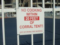 NO COOKING WITHIN 20 FEET OF CORRAL TENT SIGN